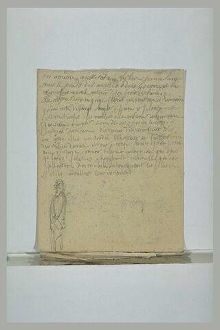 Figure debout, drapée, et notes manuscrites