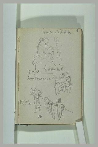 Croquis de compositions antiques et annotations manuscrites