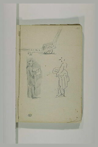 Deux hommes debout ; charrue
