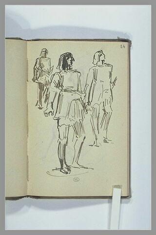 Trois études d'un homme en costume médiéval