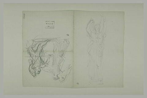 Femme levant les bras et femme avec ses ailes saisissant une autre figure