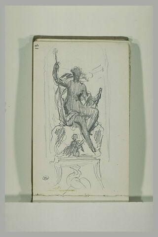 Figure assise, dans un décor