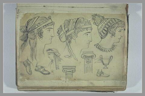 Etudes de têtes, de sandales et de colonnes d'après l'antique