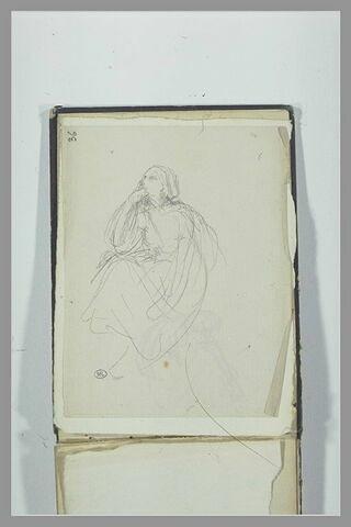 Figure drapée, assise, la main sur le menton