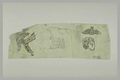 Casque antique ; torse ; tête de bélier et un aigle