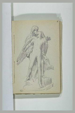 Figure derrière un jeune homme ailé : Héro et Léandre (?)