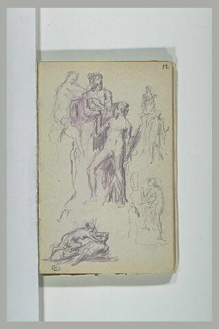 Etudes pour Héro et Léandre ; sphinge et jeune homme