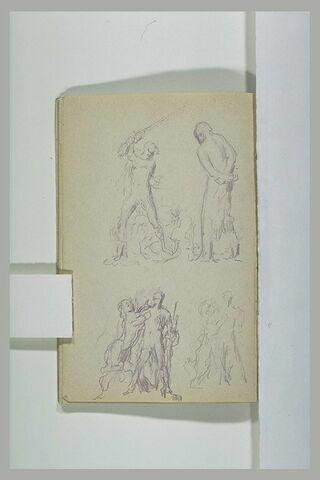 Homme tenant une épée et homme aux mains liées ; sphinge et jeune homme
