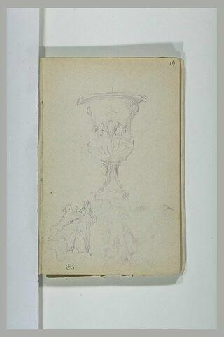 Vase ; groupe davec une sphinge et un jeune homme