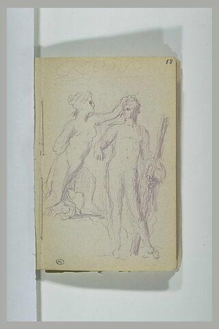 Groupe sculpté composé d'une sphinge et d'un jeune homme