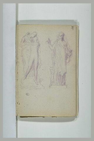 Couple enlacé : Héro et Léandre (?) ; figure debout, tenant une serpe