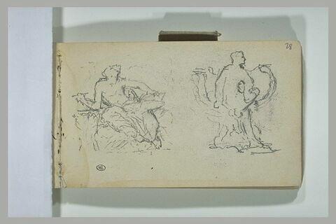 Deux études de statues