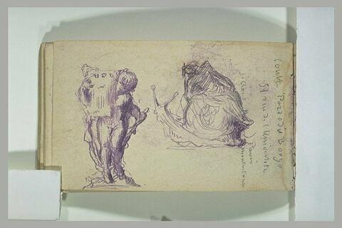 Un homme assis sur un escargot géant et un chérubin portant un vase