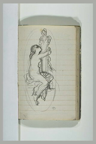 Femme nue enlaçant une colonne