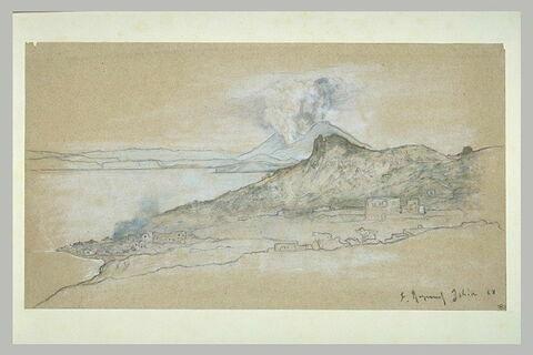Vue du golfe de Naples avec le Vésuve fumant