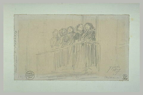 Cinq femmes debout sur un balcon