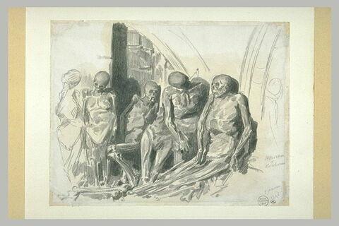 Six cadavres momifiés, debout ou assis
