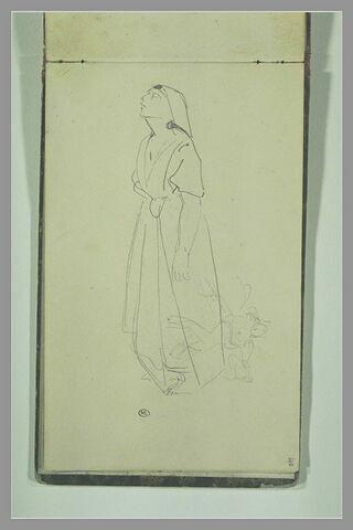 Femme orientale, de trois-quarts à gauche et croquis de figure