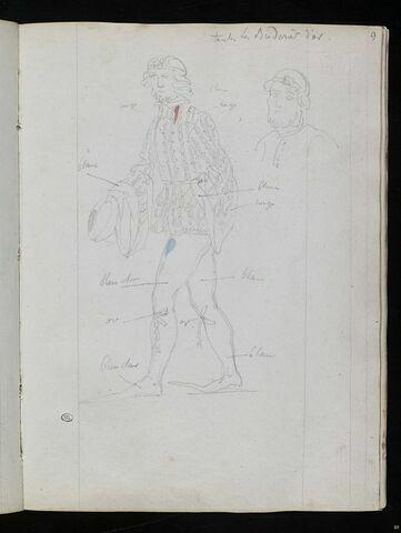 Personnage en pourpoint brodé, de trois quarts à gauche ; tête d'homme