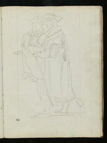 Trois hommes debout, en costume Renaissance