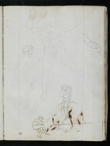 Quatre figures nues ; un bras ; silhouettes esquissées