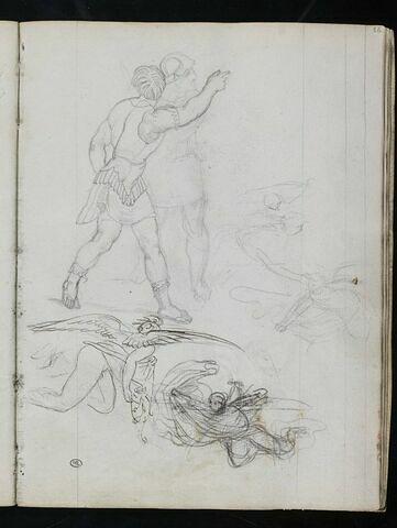 Deux guerriers antiques avançant vers la droite ; groupe d'anges combattant