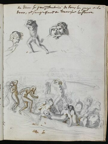 Damnés montant dans la barque ; étude pour Charon, pour Dante et Virgile