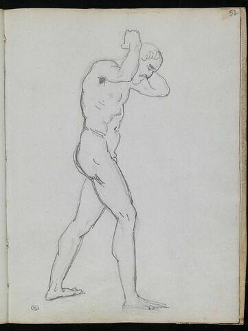 Homme nu de profil à droite, portant un fardeau