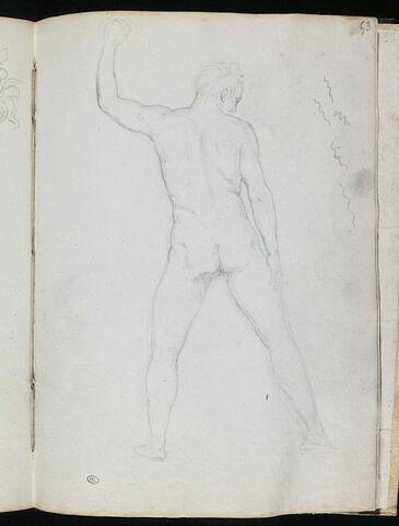 Homme nu, vu de dos, le bras gauche levé