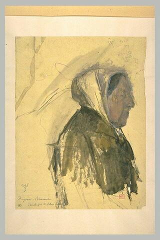 Vieille femme à mi-corps, de profil à droite, coiffée d'une étoffe blanche