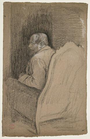 Le baron Gennaro Bellelli dans son fauteuil de dos