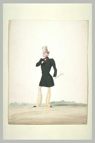 Homme au redingote noire, tenant un fouet à la main gauche