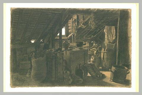 Intérieur d'un grenier rempli de meubles, et d'objets divers