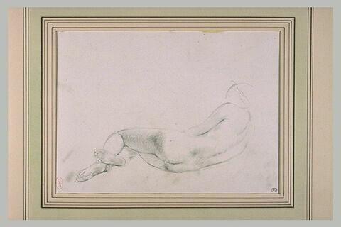 Femme nue, couchée sur le côté droit, vue de dos