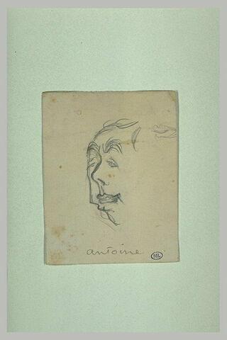 Croquis d'une tête d'homme, de trois quarts à droite, inachevée