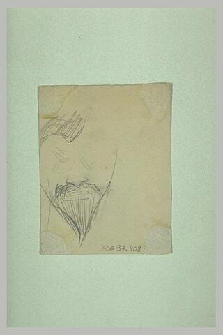 Croquis caricatural d'une tête d'homme, avec moustache et barbiche