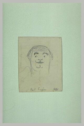 Croquis caricatural d'une grosse tête d'homme, avec une frange