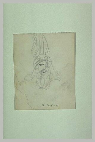 Tête de guerrier barbu, longs cheveux, avec casque surmonté d'une aigrette