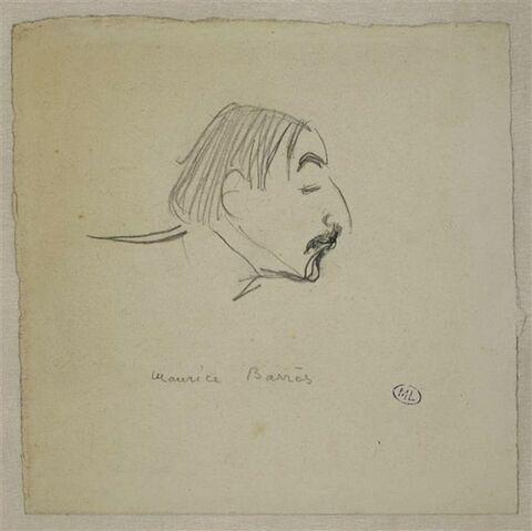 Croquis caricatural d'une tête d'homme, de profil à droite : Maurice Barrès