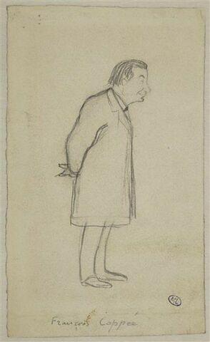 Croquis caricatural d'un homme, de profil, mains derrière le dos : F. Coppée