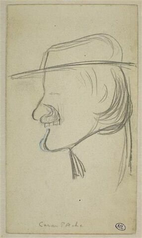 Croquis caricatural d'une tête d'homme, coiffée d'un chapeau : Caran d'Ache