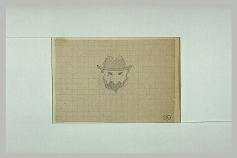 Tête d'homme, de face, avec chapeau mou et moustache sur papier quadrillé