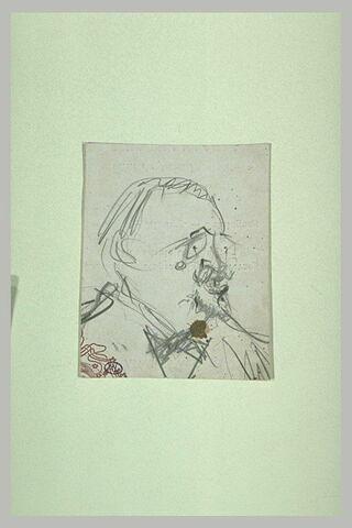 Tête d'homme, de trois quarts à droite, avec lunettes, moustache, barbiche