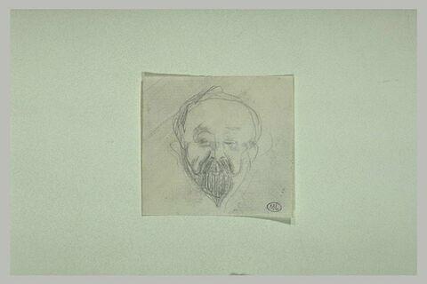 Tête d'homme, de face, avec moustache et barbiche