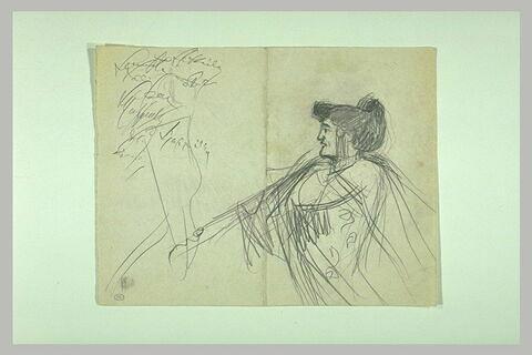 Femme vue à mi-corps, de profil à gauche ; essais de signature