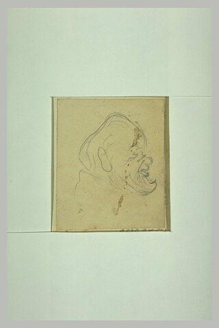 Tête d'homme, de profil vers la droite, avec lorgnon et barbiche