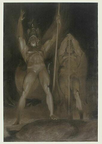 Satan et Belzébuth debout, de face, dominant des nuées enflammées