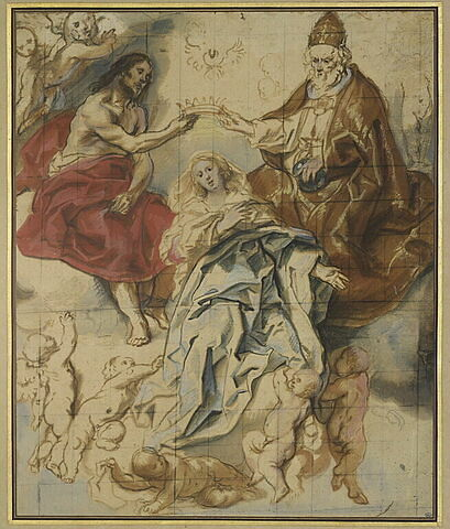 Le Couronnement de la Vierge par la Sainte Trinité, des angelots autour