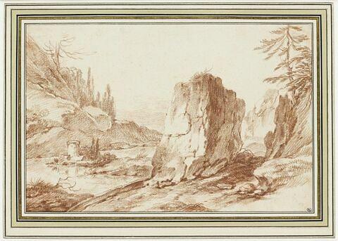 Paysage rocheux avec un fleuve entre deux rives escarpées