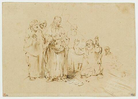 Saint Thomas, à genoux aux pieds du Christ, entouré de ses disciples